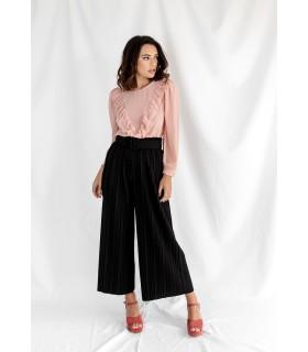 Pantalón Culotte Plisado Negro