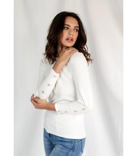 Camiseta Basic Botones Blanca