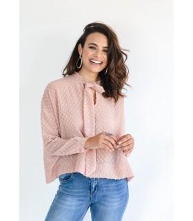 Blusa Lazada Cuello Rosa