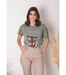 Camiseta Never Tigre Kaki