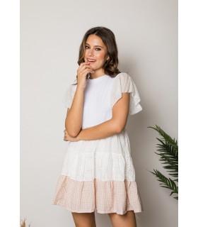 Vestido Evase Blanco Vichy