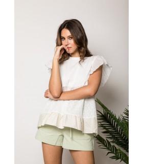 Camiseta Blanca Vichy Beige