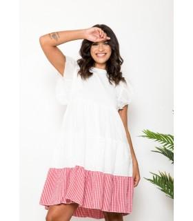 Vestido Evasé Blanco Vichy...