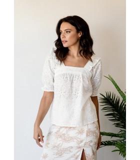 Blusa Blanca Troquelada