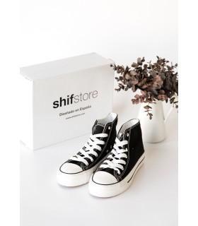 Zapatillas Bota Lona Negro